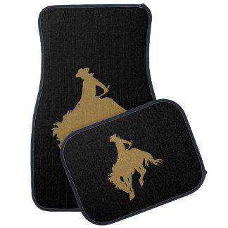 Cavalo Bucking do vaqueiro preto do ouro Tapete Automotivo