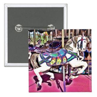 Cavalo colorido do carrossel em presentes da foto  bóton quadrado 5.08cm