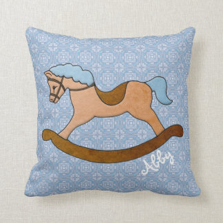 Cavalo de balanço da criança personalizada na luz almofada