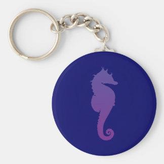 Cavalo de mar mágico roxo chaveiro