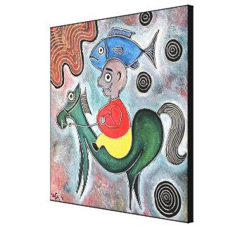 Cavalo do rapaz pequeno e um peixe pelo rafi talby