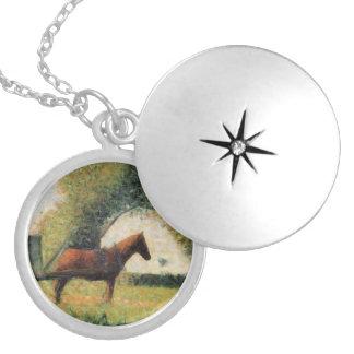 Cavalo e carro por Georges Seurat Colar Medalhão