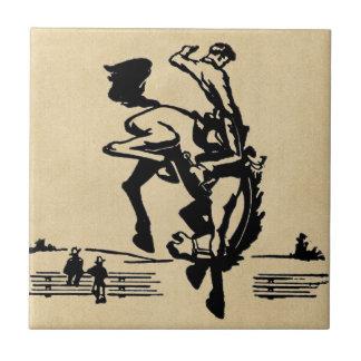 Cavalo e cavaleiro Bucking do bronco Azulejo Quadrado Pequeno