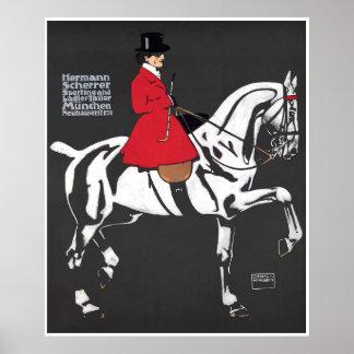CAVALO e CAVALEIRO do ART DECO: Poster das belas