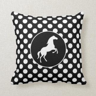 Cavalo em bolinhas preto e branco travesseiros de decoração