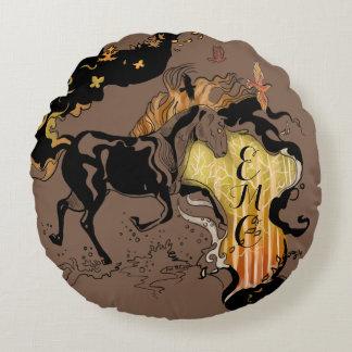Cavalo estilizado do monograma da silhueta almofada redonda