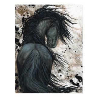 Cavalo majestoso do frisão pelo cartão de Bihrle