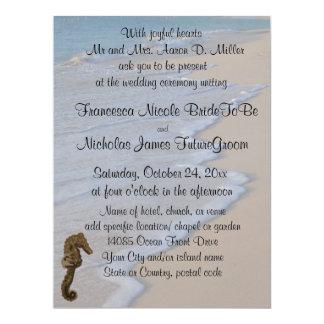 """Cavalo marinho do casamento de praia convite 16.51"""" x 22.22cm"""