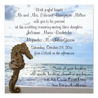 Cavalo marinho do casamento de praia convite quadrado 13.35 x 13.35cm