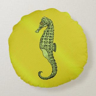 Cavalo marinho no amarelo almofada redonda