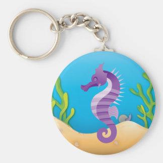 Cavalo marinho roxo subaquático chaveiro