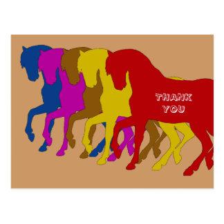 Cavalos coloridos em Sillouette, cartões de