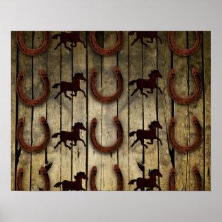 Cavalos e ferraduras nos presentes de madeira do poster