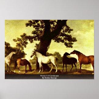 Cavalos em uma paisagem por Stubbs George Poster