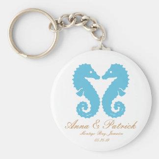 Cavalos marinhos que Wedding o anel chave Chaveiro