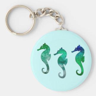 Cavalos marinhos verdes escuro da aguarela chaveiro