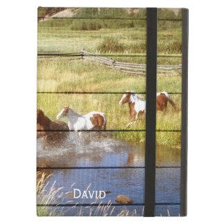 Cavalos na caixa de madeira do ar do iPad Capa Para iPad Air