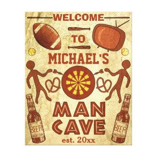 Caverna engraçada do homem com seu costume impressão em canvas