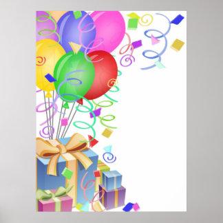 Celebração com balões e presentes coloridos IL Poster