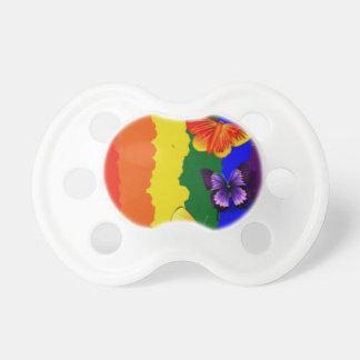 Celebração da diversidade com cores do arco-íris chupeta