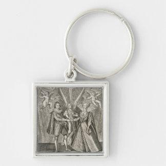 Celebração do casamento de James VI e mim (156 Chaveiro Quadrado Na Cor Prata