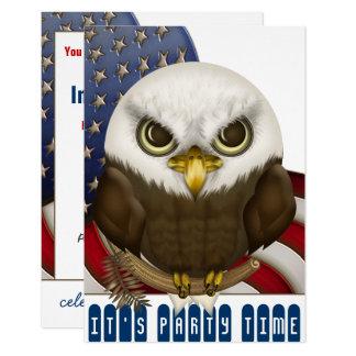 Celebração patriótica da águia americana bonito convite 8.89 x 12.7cm