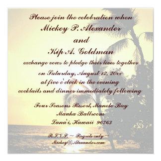 Celebração romântica do casamento de praia convite quadrado 13.35 x 13.35cm