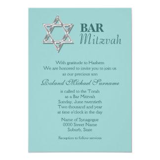 Celebrações azuis #2 do mitzvah do bar de prata convite 12.7 x 17.78cm
