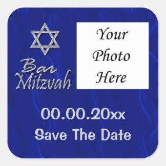 Celebrações da foto do mitzvah do bar adesivo quadrado