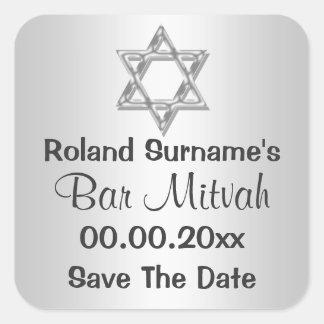 Celebrações de prata do mitzvah do bar cinzento adesivo quadrado