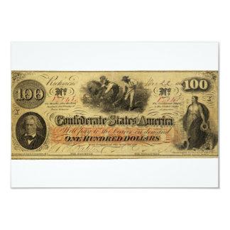 Cem dólares de estados de América confederados Convites Personalizado