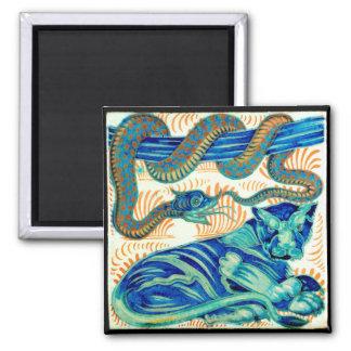 CEN do azulejo do cobra & do gato de selva 19o. - Ímã Quadrado