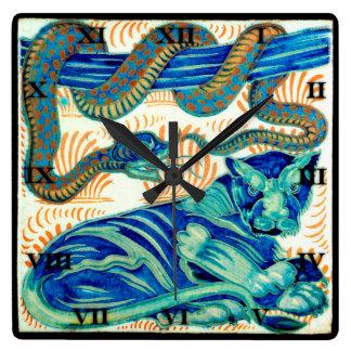 CEN do azulejo do cobra & do gato de selva 19o. -  Relógio Para Parede
