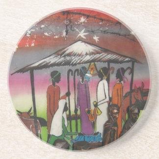 Cena africana da natividade do Natal Porta-copos De Arenito