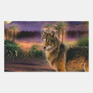 Cena animal abstrata do lobo adesivo retangular