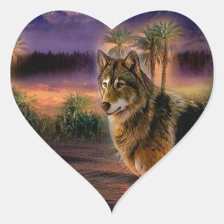 Cena animal abstrata do lobo adesivo de coração