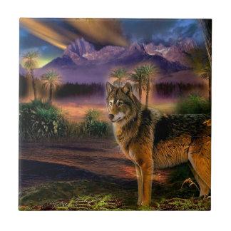 Cena animal abstrata do lobo azulejo quadrado pequeno