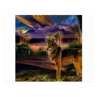 Cena animal abstrata do lobo cartões postais