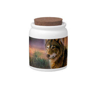 Cena animal abstrata do lobo jarro de doce