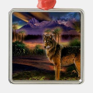 Cena animal abstrata do lobo ornamento para arvore de natal