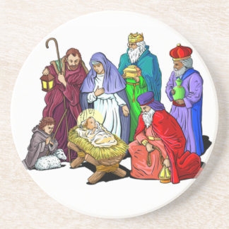 Cena colorida da natividade do Natal Porta-copos De Arenito