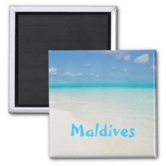 Cena da ilha da praia da lua de mel de Maldives Ímã Quadrado