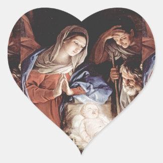 Cena da natividade adesivo coração