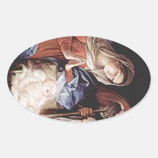 Cena da natividade adesivo oval
