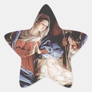 Cena da natividade adesivo em forma de estrela