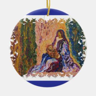 Cena da natividade com bebê Jesus e belas artes de Ornamento De Cerâmica Redondo