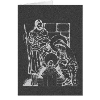Cena da natividade das cinzas e do branco de cartão comemorativo