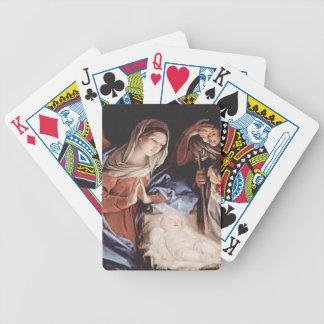 Cena da natividade cartas de baralhos