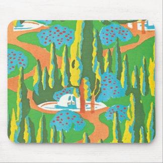 Cena da natureza do abstrato do art deco do vintag mouse pads