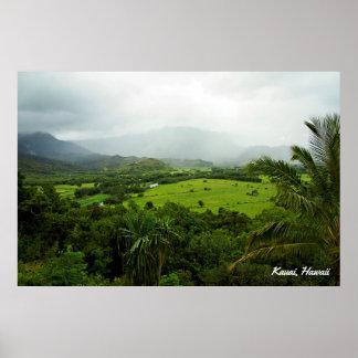 Cena da paisagem de Kauai, Havaí Poster